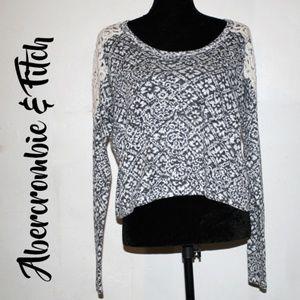 A&F Heather Gray Knit Crochet High-Low Crop Top